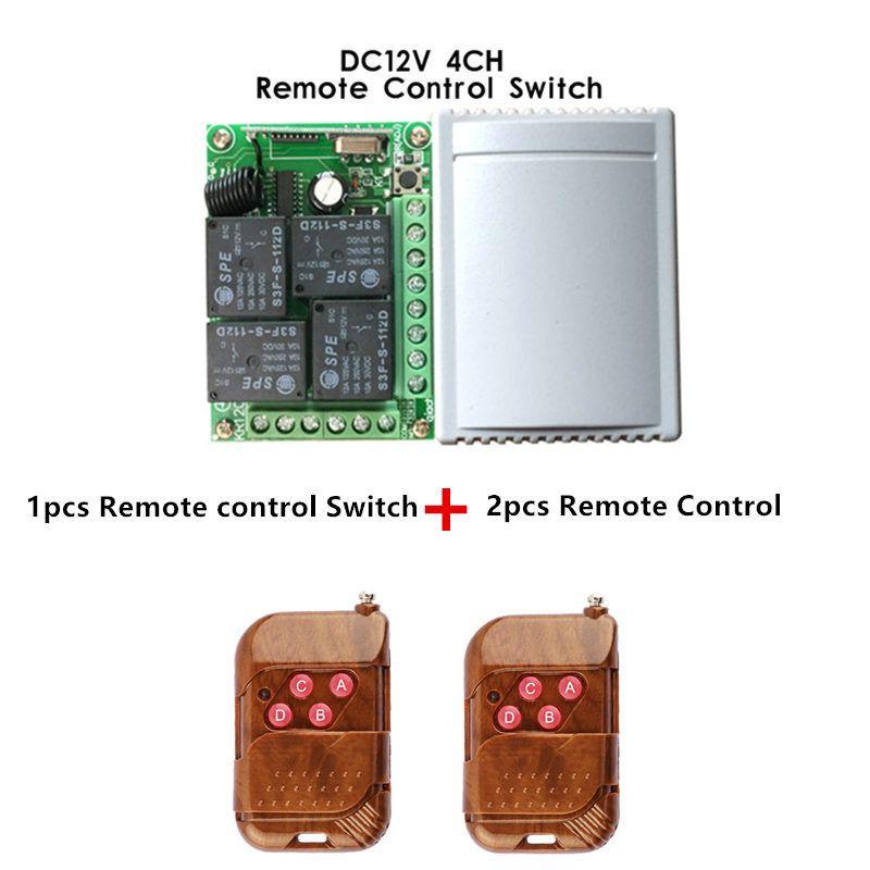 433 мГц Универсальный Беспроводной Дистанционное Управление Переключатель DC12V 4ch реле Модуль приемника и 2 шт. 4 канала РФ дистанционного 433 мГ...