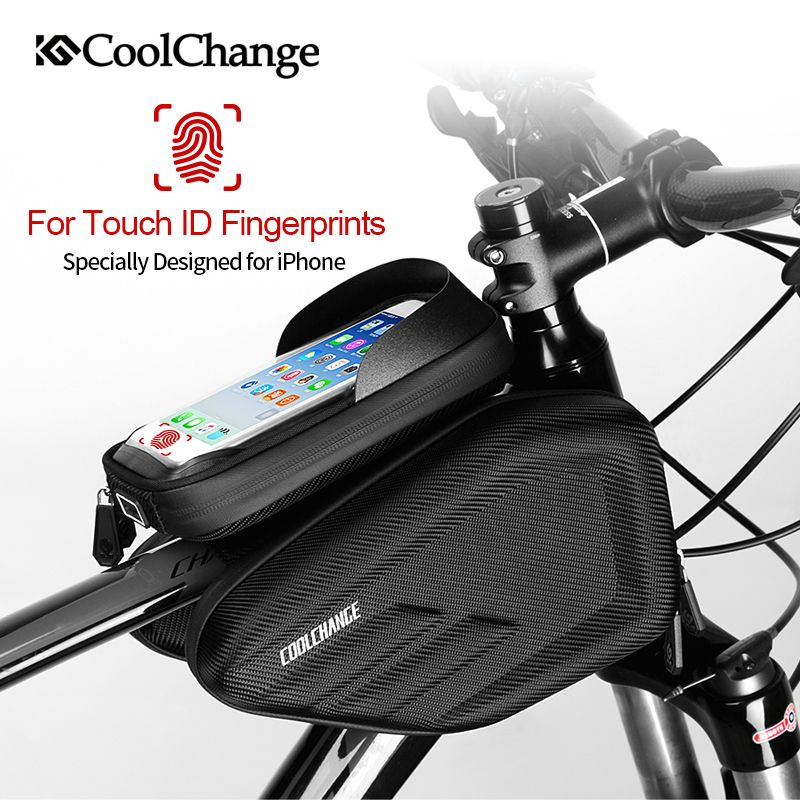 CoolChange Waterproof <font><b>Bike</b></font> Bag Frame Front Head Top Tube Cycling Bag Double IPouch 6.2 Inch Touch Screen Bicycle Bag Accessories