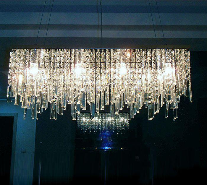 Modernen Chinesischen einfache mode kreativen rechteckige kristall K9 LED kronleuchter bar restaurant beleuchtung Deckenleuchte LED Leuchte