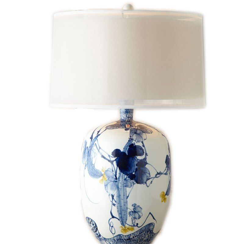 Chinese Classical Hand-painted Blue And White Porcelain Ceramic E27 Table Lamp For Living Room Bedroom Showing Room H 68cm 1431