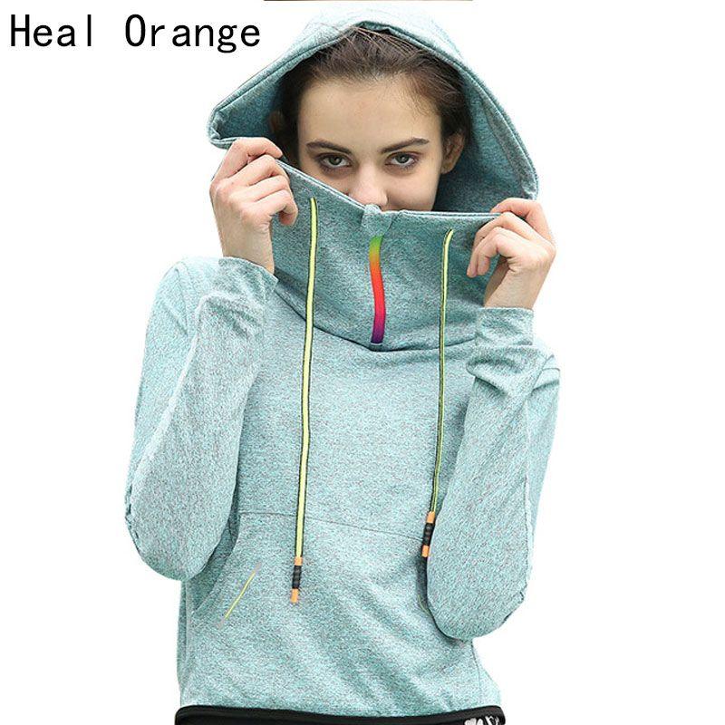 HEAL ORANGE Women Running Jackets Hoodies Sport Coats Zipper Sports Jacket Gym Women Veste Femme Sport Outerwear Long Sleeve