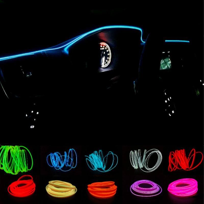 JURUS 10 Colors 1Meters AUTO interior refit light clamping-edge EL Wire Flexible Neon Car Decorate With 12V Cigarette lighter