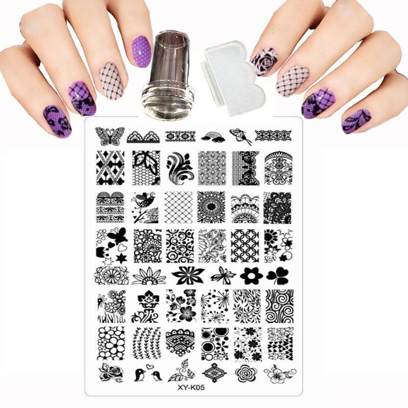9.5x 14,5 см XY-серии K Дизайн печать изображения Трафареты для дизайна ногтей DIY изображения ногтей штамповки с прозрачной пластины акриловые