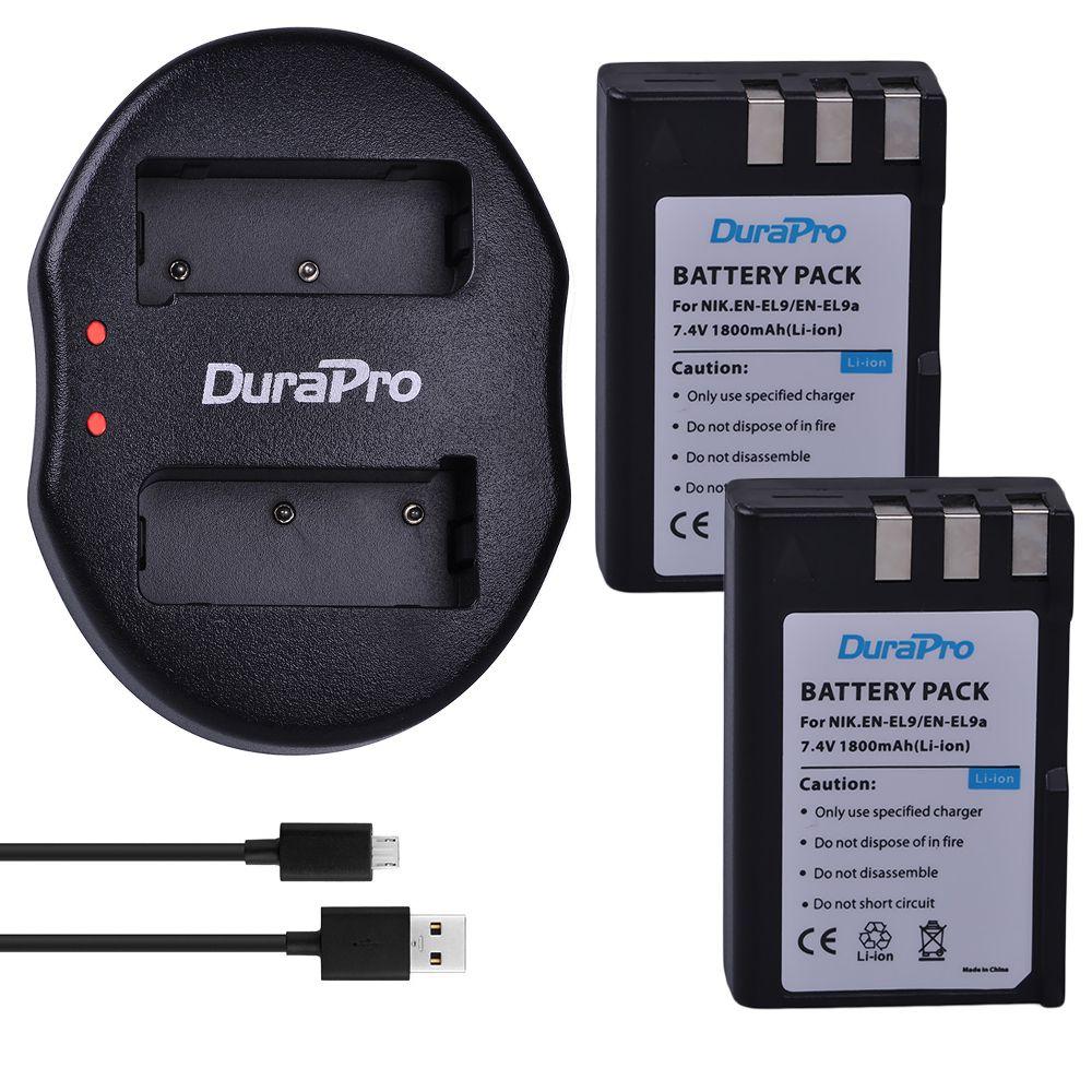 DuraPro 2pcs 7.4V 1800mAh EN-EL9 EN EL9 ENEL9 Rechargeable Camera Battery Battery + Charger For Nikon D40 D40X D60 D3000 D5000