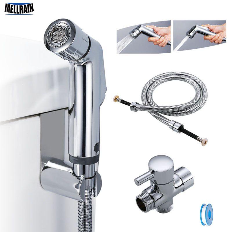 Deux fonction toilette main bidet robinet salle de bains bidet douche pulvérisateur en laiton T adaptateur 1.2m tuyau réservoir crochet titulaire facile à installer