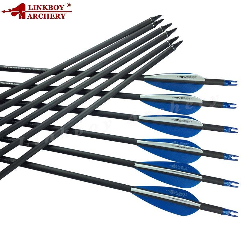 Linkboy Archery 6/12Pcs ID6.2mm Carbon Arrows Spine500 28/29/30/31 Inch for Compound Recurve Bow Hunting