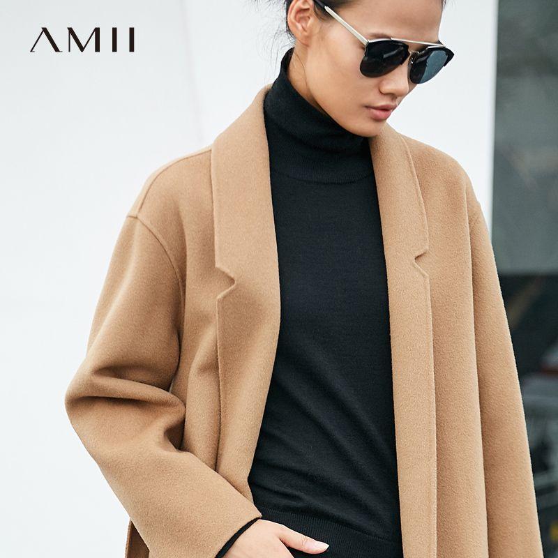 Amii Minimalistischen 100% Wolle Mantel Herbst 2018 Kausal Einstellbare Taille Gürtel Solide Lange Hülse Dünne Weibliche Doppel Seite Woolen Mantel