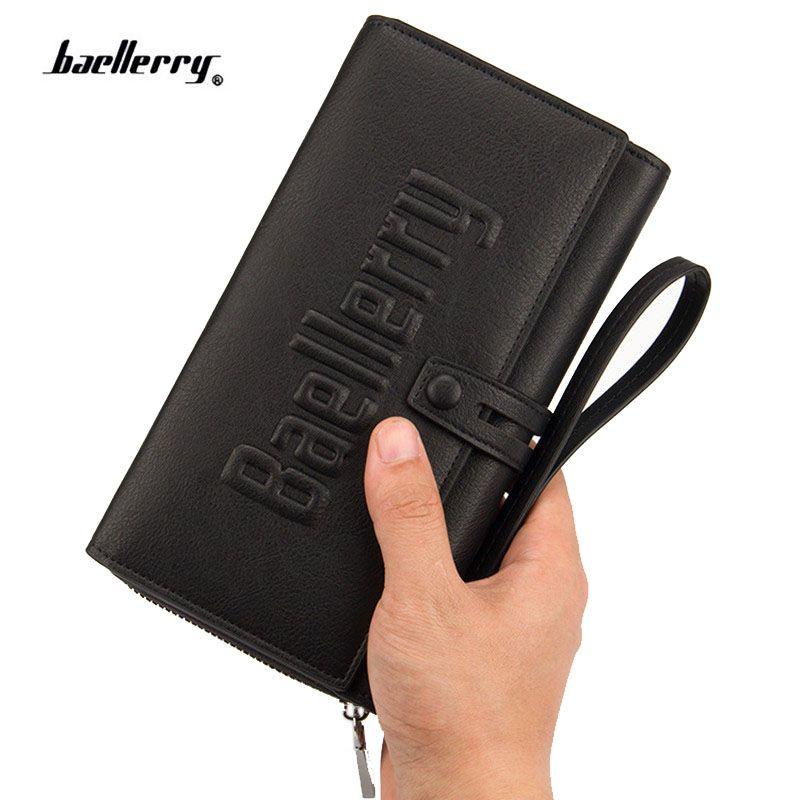 Hommes nouvelle entreprise longue marque de luxe embrayage hommes portefeuille mode mâle Zipper Vintage sacs à main en cuir Portemonne Portafogli Uomo