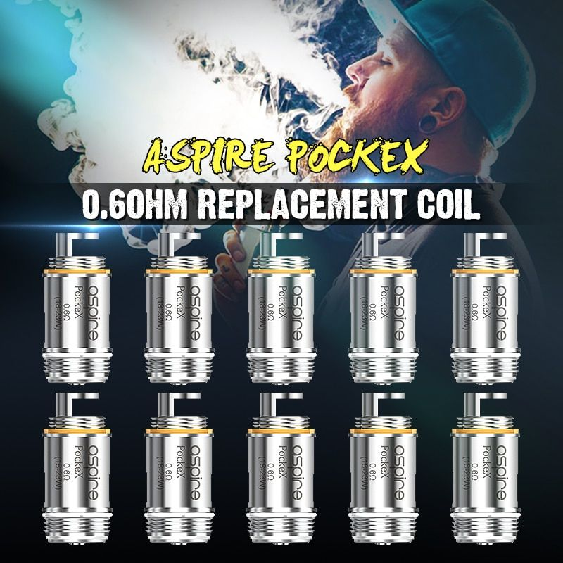 Brand New 0.6ohm Eletronic Cigarette Atomizer Core ForAspire Pockex AIO U-Tech Replacement Coils For SS316L 18-23W Pack 5