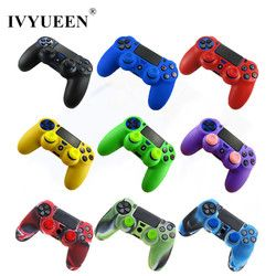 IVYUEEN for Sony PlayStation 4 PS4 DS4 Pro Slim Controller 1 PCS Soft Silicone Protection Case Cover Skin + 2 Thumbsticks Grips
