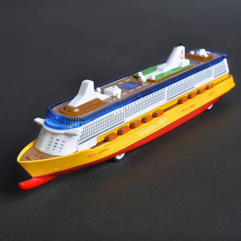 130130 Children's toy color pearl model ship model ship alloy toy ship sound and light return ocean liner.