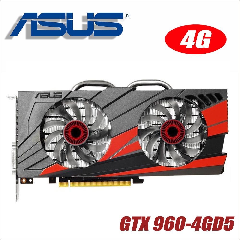 Carte graphique originale ASUS GTX960-DC2OC-4GD5 GTX 960 4 GB 128Bit GDDR5 cartes graphiques pour nVIDIA VGA Geforce Hdmi Dvi gam GTX960 4g