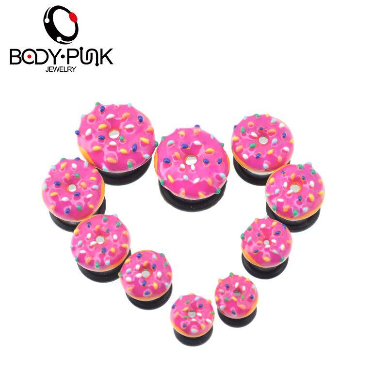 KÖRPER PUNK Süße Rosa Donut Aufgeweiteten Stecker Sommer Flesh tunnel Ohr Expander Filigrane Ohrstecker Piercing Schmuck 1 paar
