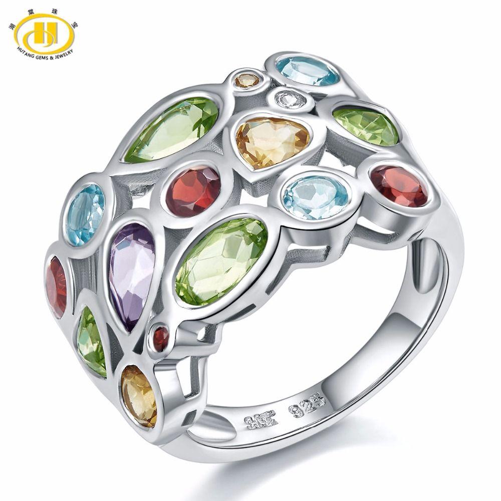 Bague Hutang Multi pierres précieuses pour femmes véritable topaze grenat Citrine 925 bague en argent Sterling pour bijoux élégants