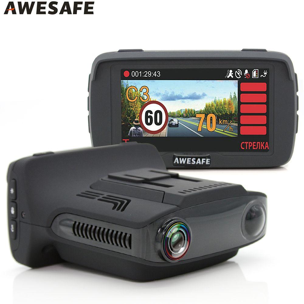 AWESAFE Car DVR Radar Detector GPS 3 in 1 Ambarella A7LA50D Video Recorder Camera Full HD 1296P 2.7