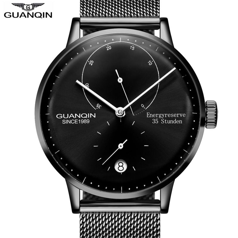 Original GuanQin 2018 New Fashion Simple automatic watch Top Brand Mechanical Watches Men Energy display Calendar skeleton watch