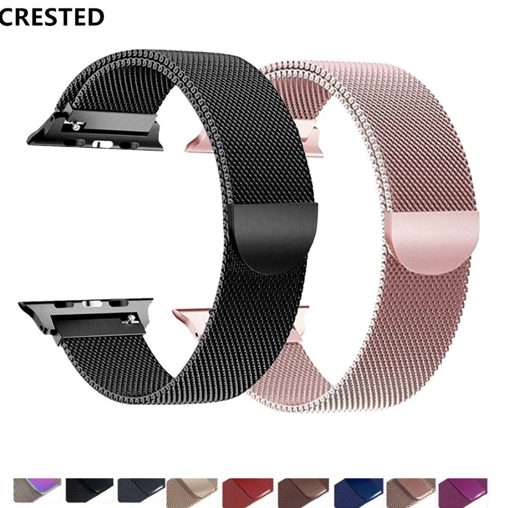 CRESTED strap For Apple Watch band apple watch 4 3 iwatch band 42mm 38mm correa 44mm/40mm pulseira Milanese Loop bracelet belt