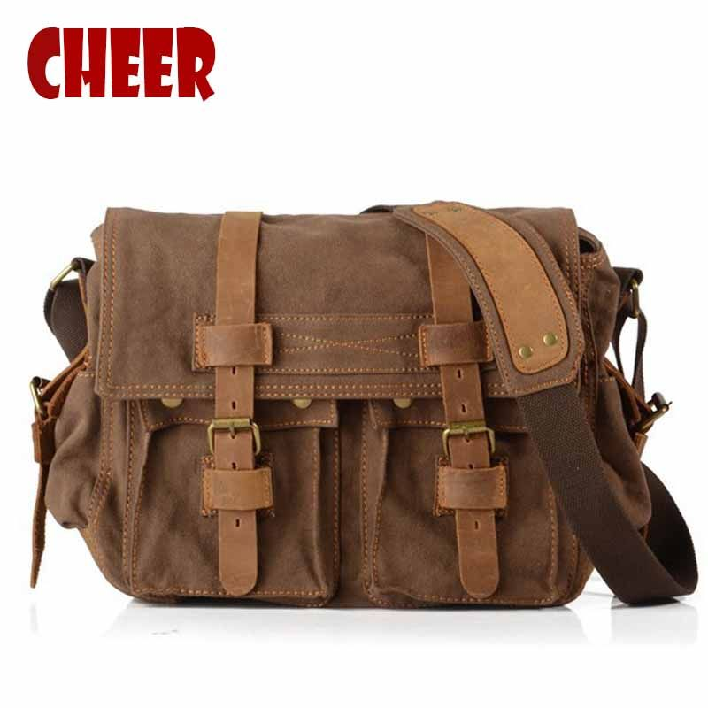 Men's shoulder bags briefcase handbag canvas laptop bags men's messenger bag Vintage Casual Crossbody High capacity travel bag