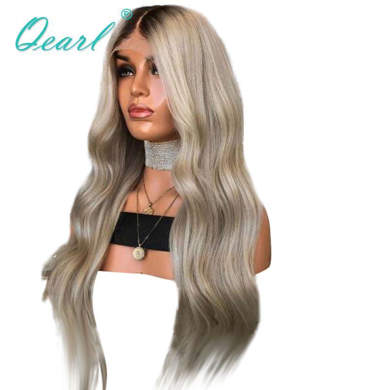 Ombre Asche Blonde Grau mit Dunklen Wurzeln Brasilianische Haar Spitze Vorne Perücke 13x4 Remy Natürliche Welle Menschliches Haar perücke mit Baby Haar Qearl