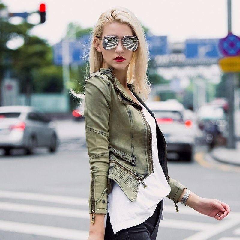Try Everything Motorcycle Jacket Women 2018 Fashion Silm Rivet Denim Jacket Female Vintage Punk Rock Ladies Cotton Jeans Jacket