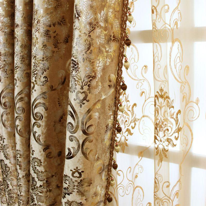Chambre Européenne Rideaux pour Le Salon Fenêtre Ombrage Bronzage Tissu de À Manger Key-2 Luxury Style Flanelle