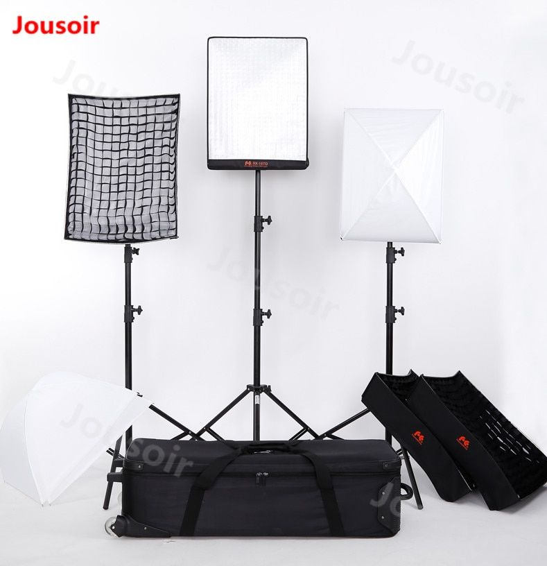 FalconEyes 100W RX-18TD 3 stücke Panel LED rolle Foto Licht Tragbare LED 504 stücke Flexible LED Foto drei lampe kit CD50 T06