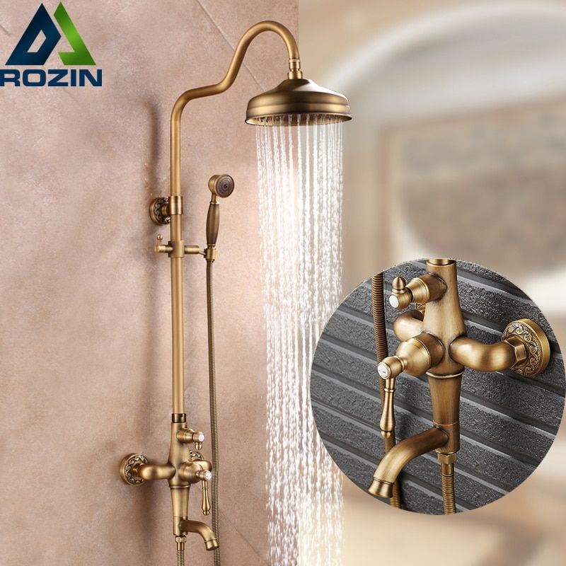 Good Quality Antique Brass Rainfall Shower Set Faucet + Tub Filler Tap + Handheld Shower Wall Mounted 8