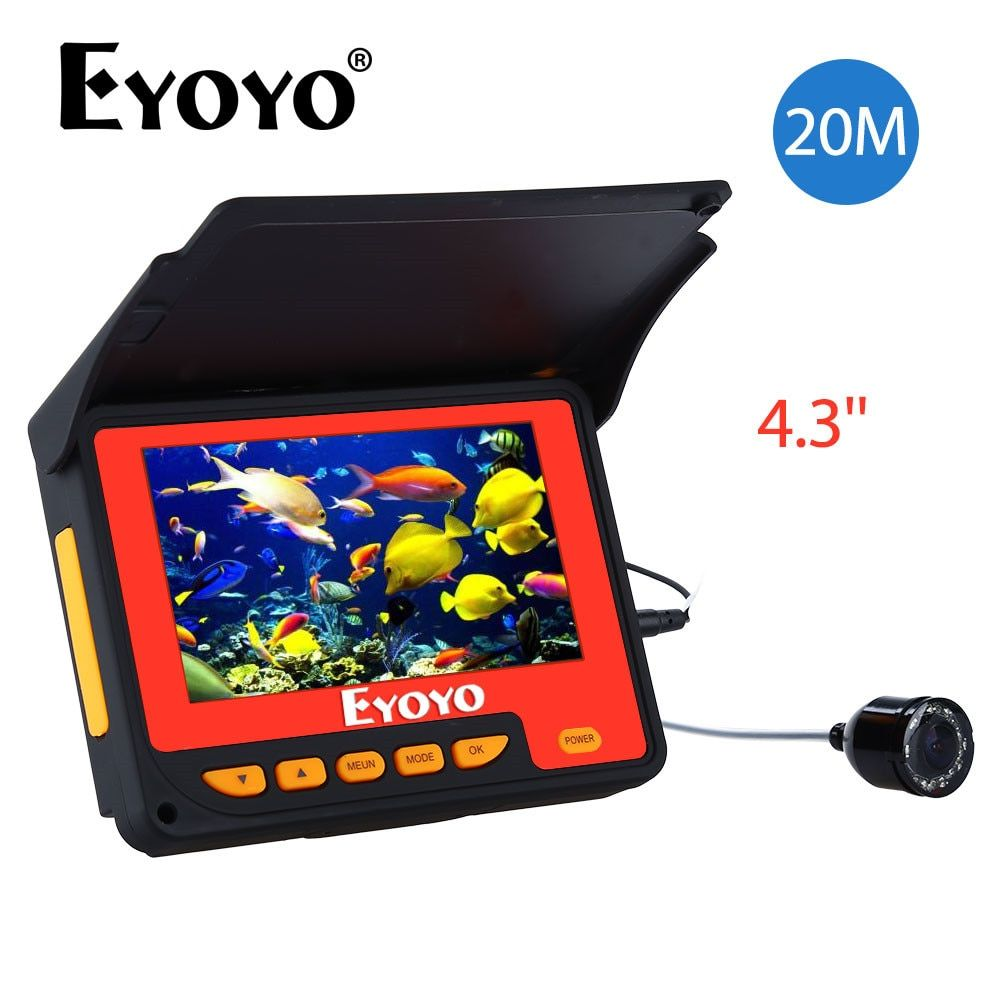Eyoyo Updated 20M HD 1000TVL Underwater Ice Fishing Camera Video Fish Finder 4.3