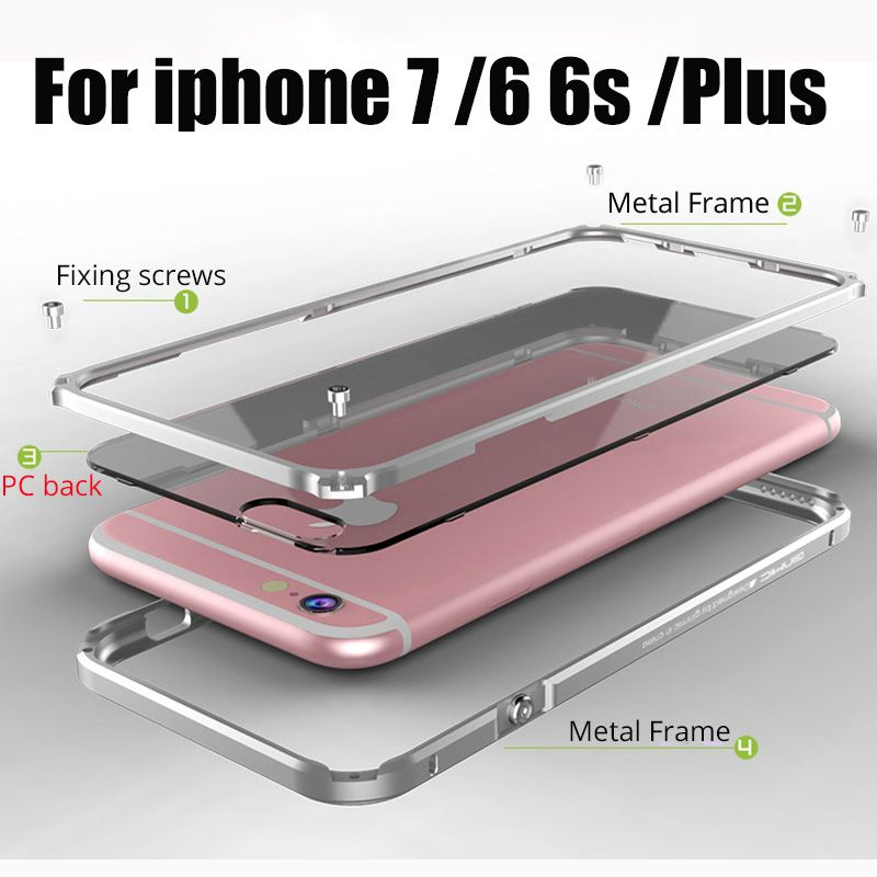 Ginmic for Apple iPhone 6 Case Cover Aluminum Frame for iPhone6 6S 7 Plus phone Case Clear cover Coque for iphone 7 Metal Bumper