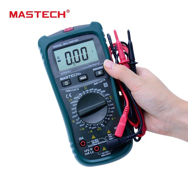 MASTECH MS8260E Digital Multimeter LCR Meter AC DC Voltage Current Tester w/hFE Test & LCD Backlight Meter Multimetro