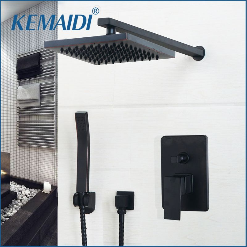 KEMAIDI Bathroom Rainfall shower faucet Luxury Black Wall Mounted Sets 8/10/12 inch Oil Rubbed <font><b>Bronze</b></font> Head & Hand Shower Sets