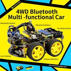 Keyestudio 4WD Bluetooth Multi-Fungsional DIY Mobil Pintar untuk Arduino Robot Pendidikan Pemrograman + Pengguna Manual + PDF (online) + Video