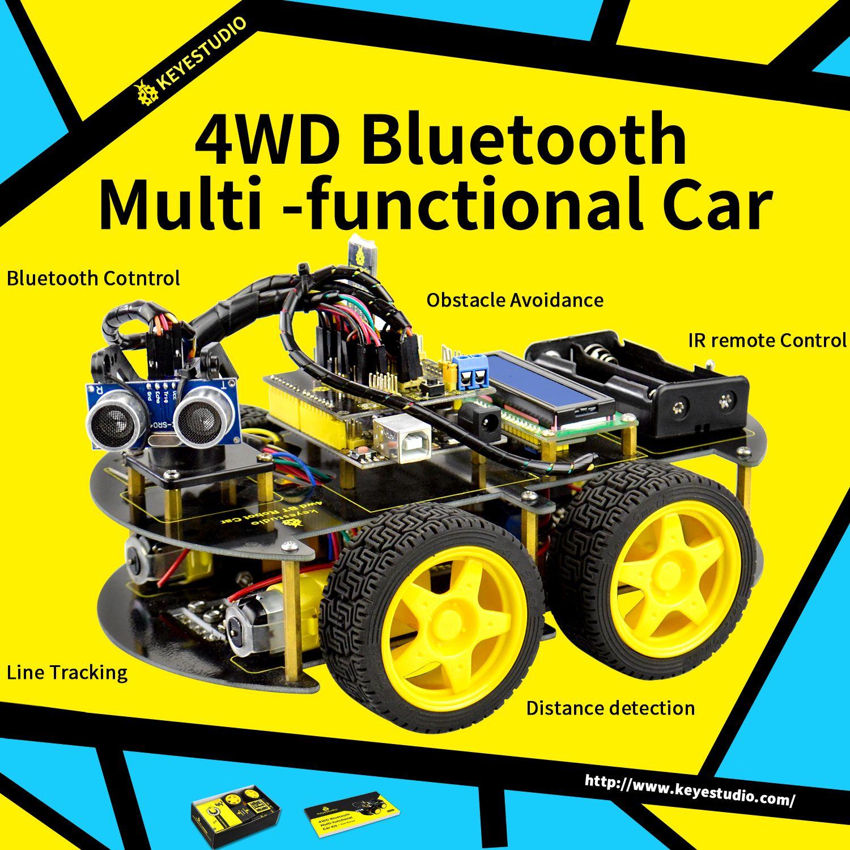 Keyestudio 4WD Bluetooth multi-fonctionnel bricolage Smart Car pour Arduino Robot éducation programmation + manuel d'utilisation + PDF (en ligne) + vidéo