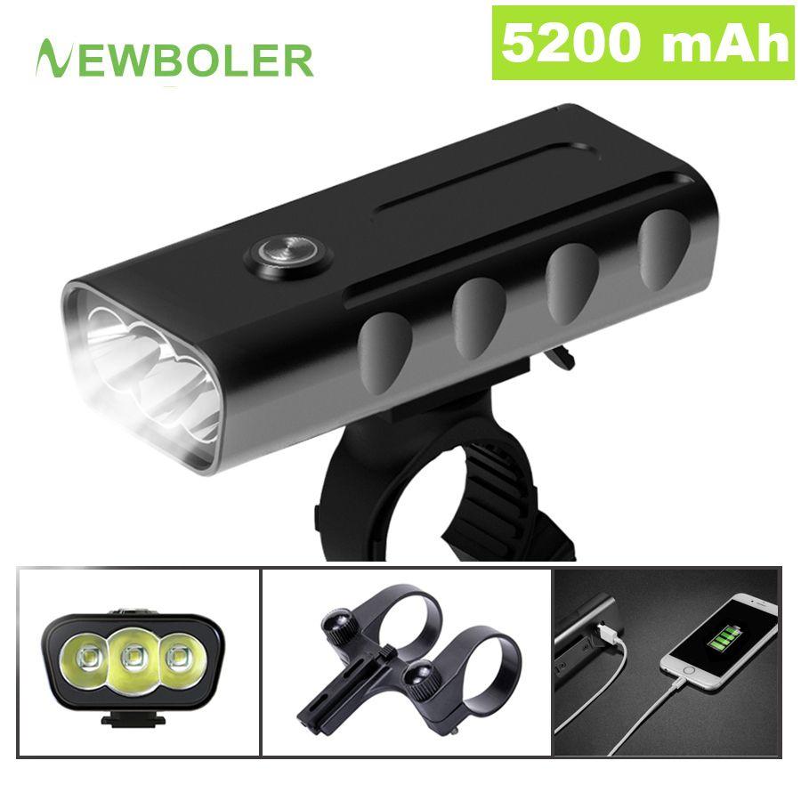 NEWBOLER 5200mAh vélo lumière Kit T6 L2 lampe de poche pour vélo 2400 Lumen Led lanterne USB phare support de montage Cycle Fornt lampe