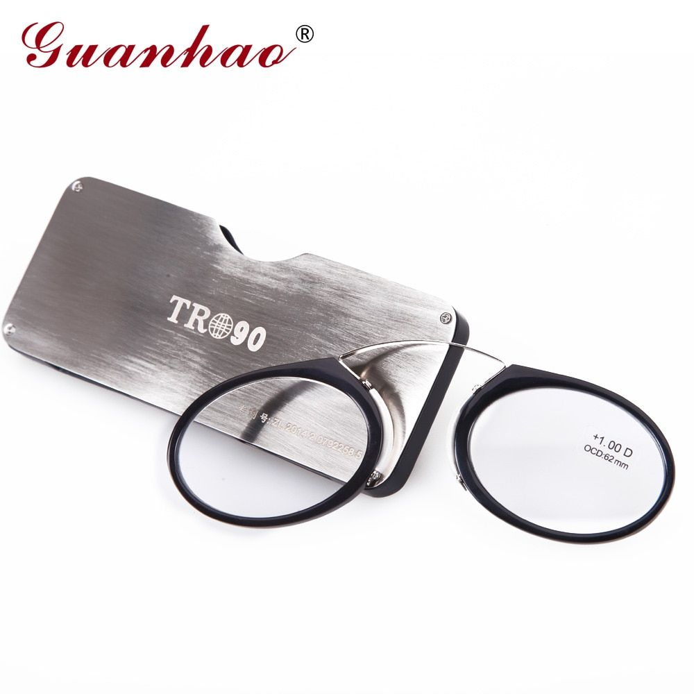 Guanhao Magnetic Reading Glasses With Case Nose <font><b>Clip</b></font> Round Optical Frame Diopter Prescription Eyewear Men Women Portable Glasses