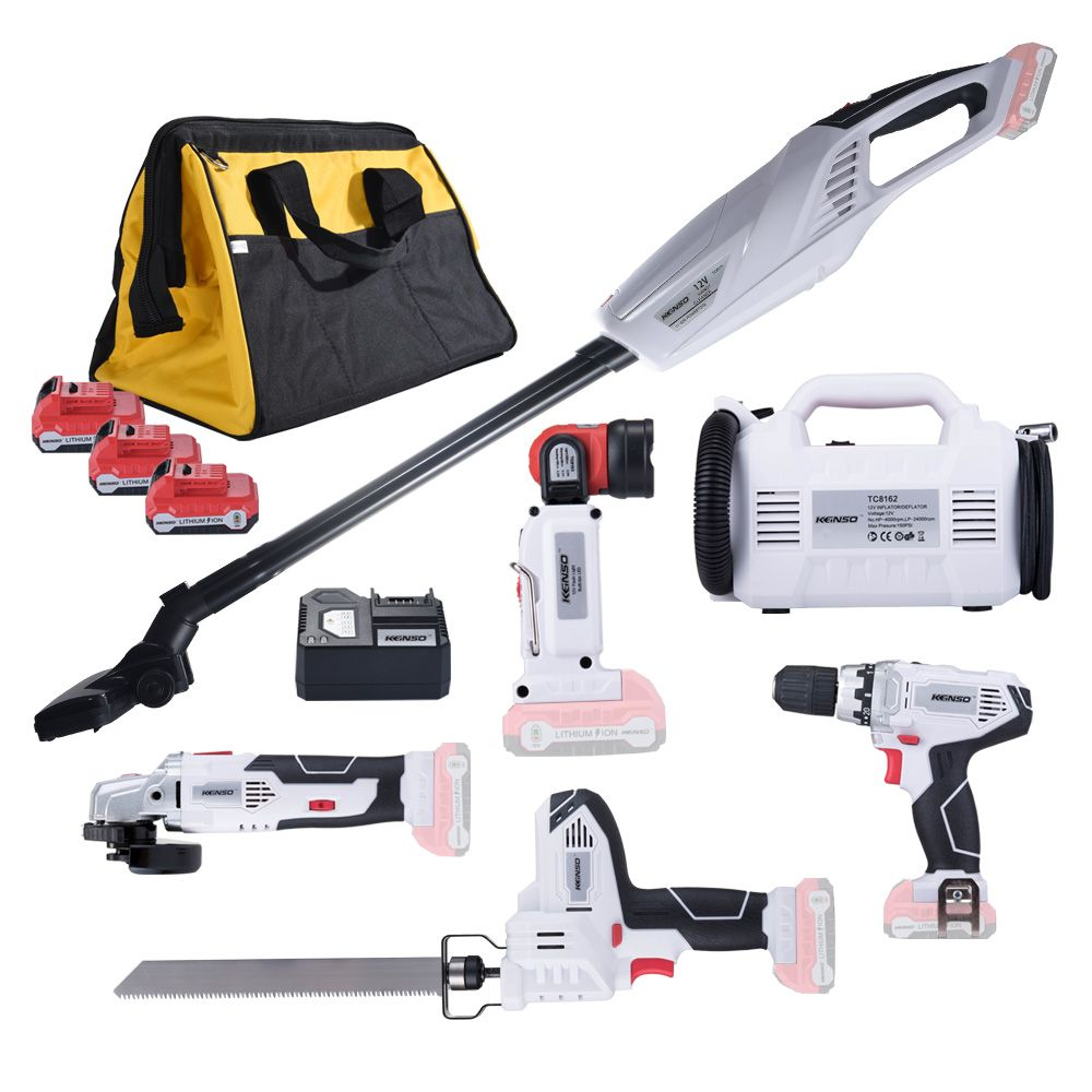 6-Piece KEINSO 12-Volt Lithium-Ion Cordless Power Combo Kit Power Tool Combination 6-Tool Combo Kit 2.0Ah Battery With Bag