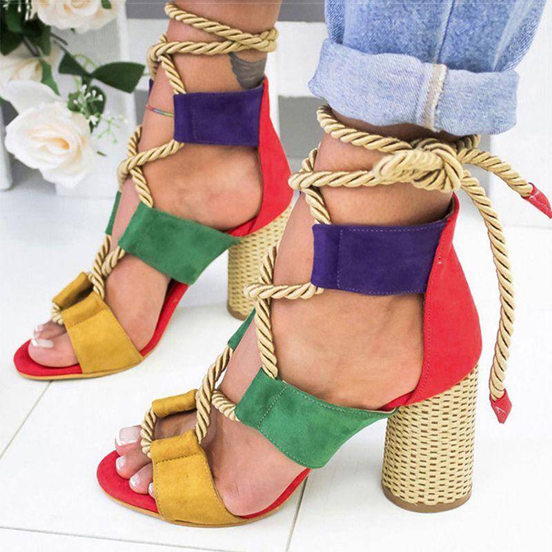 Sandales femme à lacets chaussures d'été femme talons sandales pointues bouche de poisson gladiateur sandales femme escarpins chanvre corde talons hauts
