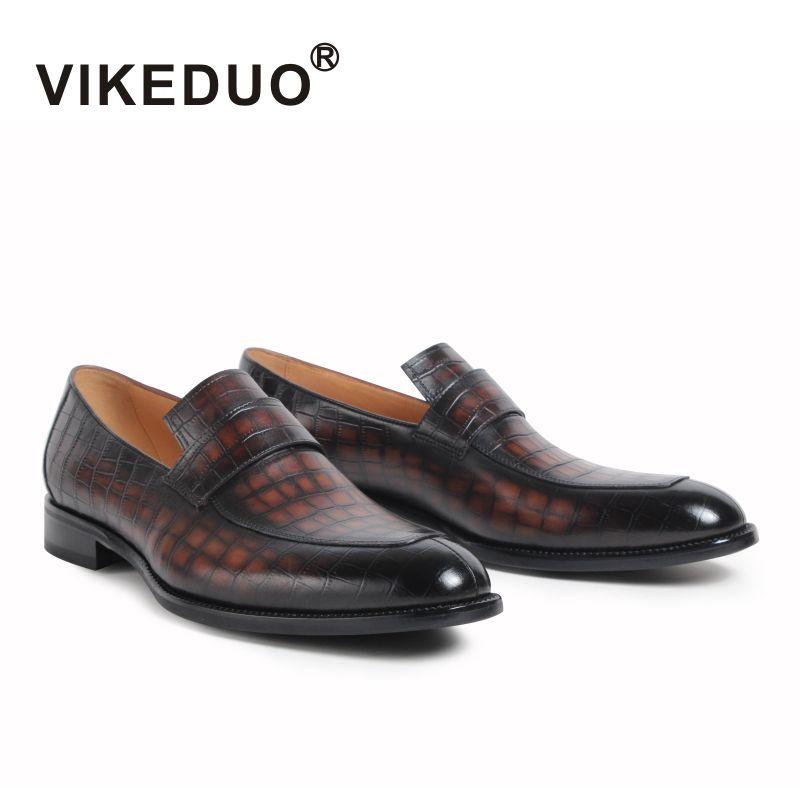 2017 Vikeduo Classic Retro Hombres del Holgazán Zapatos de Encargo Hecho a mano 100% Cuero Genuino Oficina Del Banquete de Boda de Diseño Original
