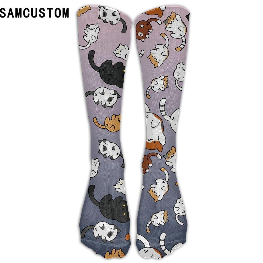 Samcustom модные гетры Для женщин хлопок высокого над коленом Чулки для женщин для дам изображением кота 3D печать длинные гетры