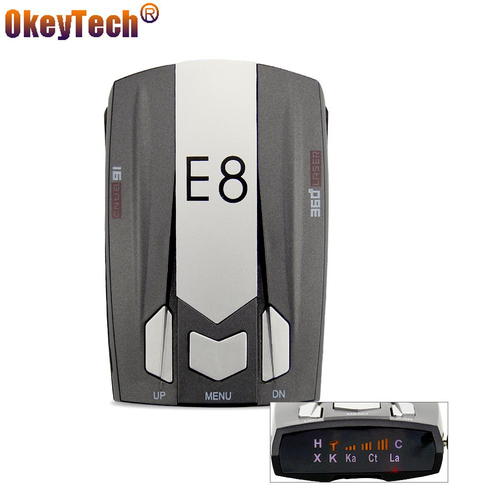 OkeyTech E8 Anti Speed Auto Car Laser Police 360 Degree Radar Detector Electronic Dog for Russia English Warning Free Shipping