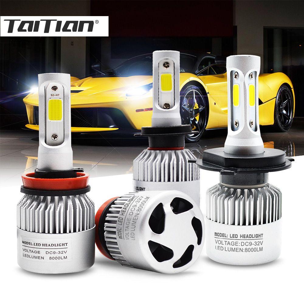 Taitian 2Pcs COB 72W 8000LM 6500K 12V H7 Canbus Led H4 Auto H1 Super Led H11 Fog Light H13 H27 880 9004 9005 HB3 9006 HB4 9007