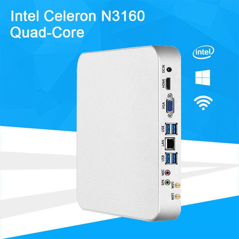 Баребоны Мини-ПК Intel Celeron n3160 quad-core Оконные рамы 10 тонкий клиент мини настольных ПК игровой HDMI VGA WiFi HTPC ТВ коробка