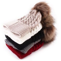 Cream Baby Girl and Boy Beanie Winter Hat with Raccoon Fur Pom Pom,Kids Wool Hat