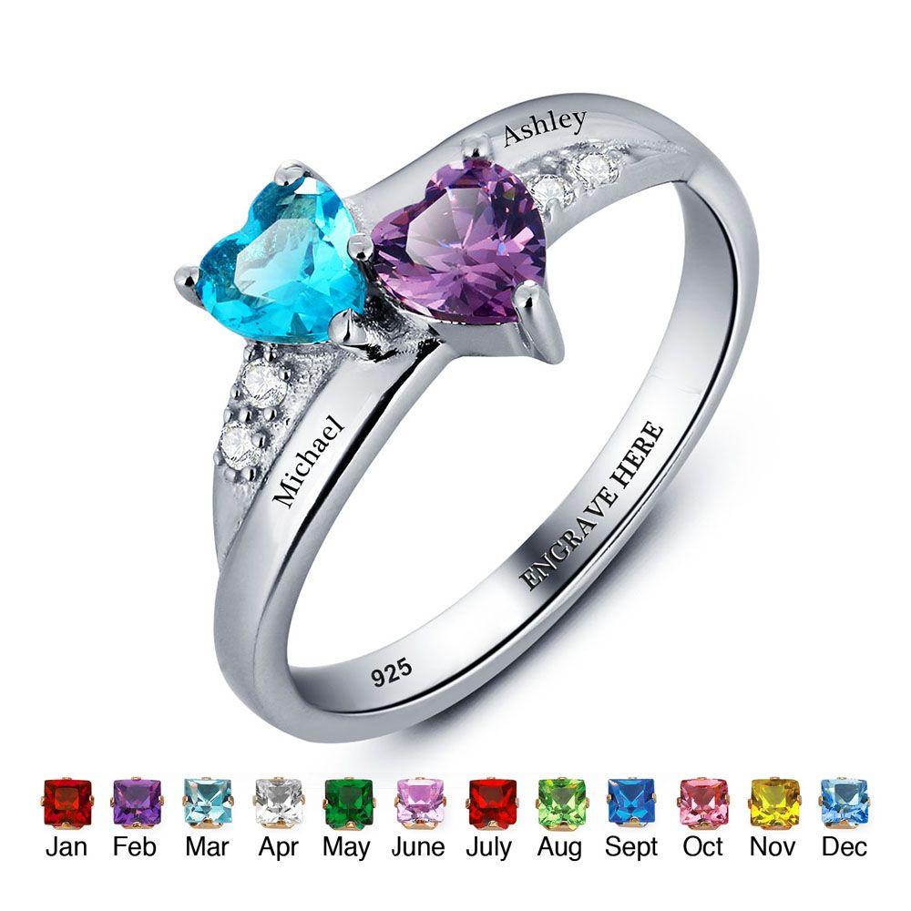 Персонализированные имя кольцо Lover 925 стерлингового серебра обещание кольцо сердце Форма камень гравировка ювелирных изделий кольца День м...