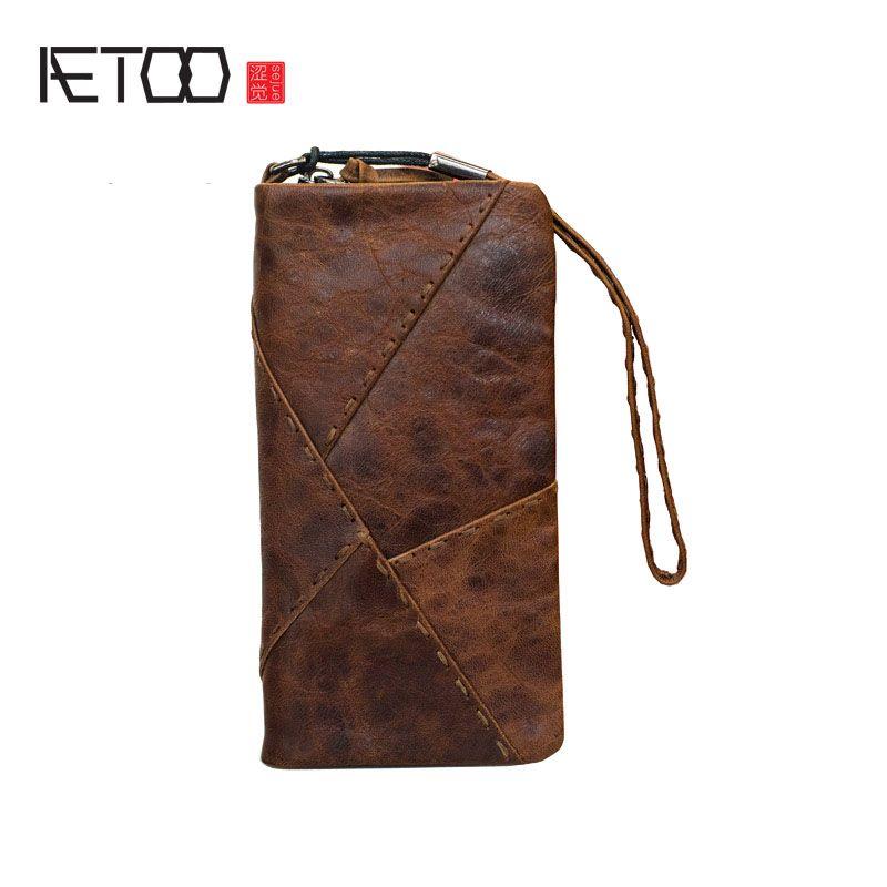 Aetoo ручной работы кошелек ретро первый слой кожи CLEVER длинный абзац молния женские мужские винтажные