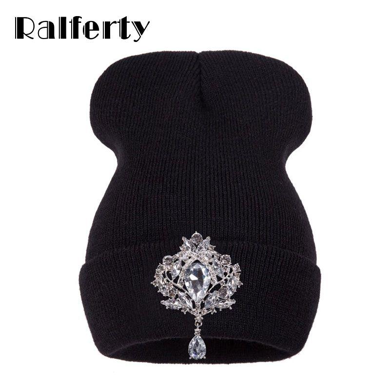 Ralferty Winter Women's Hats Luxury Rhinestone Crystal Accessories Headgear Beanie Hat Women Cap bonnet femme gorro 2019