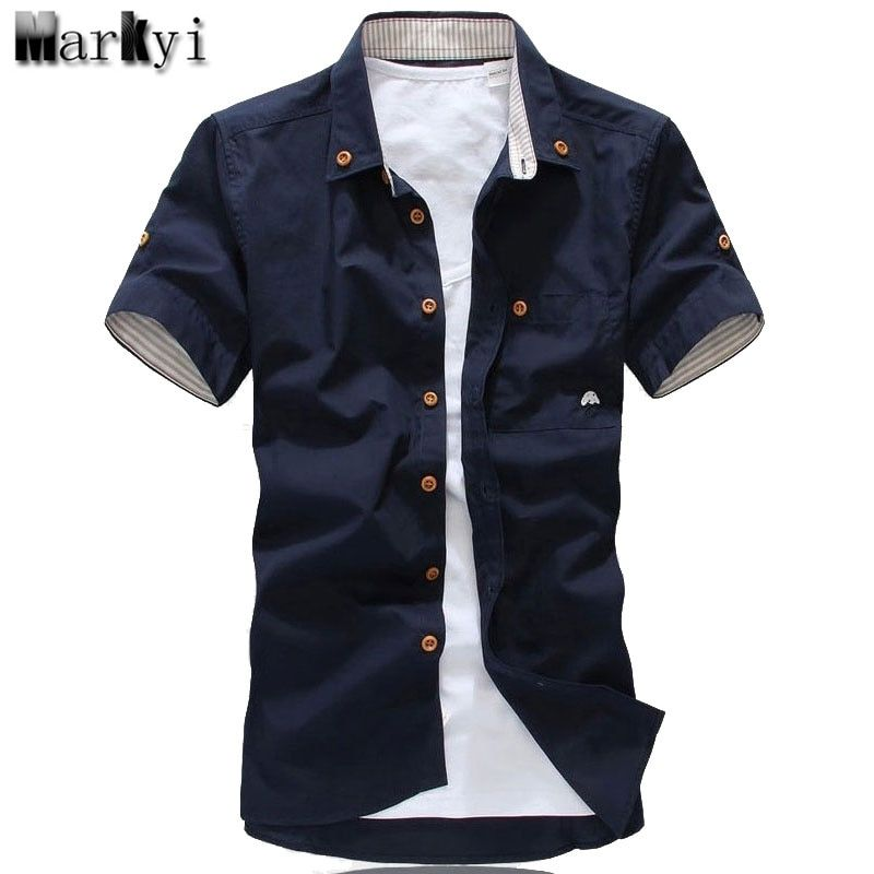 MarKyi plus size 5xl mushroom embroidery mens short sleeve casual shirts fashion 2017 new summer cotton shirts men social