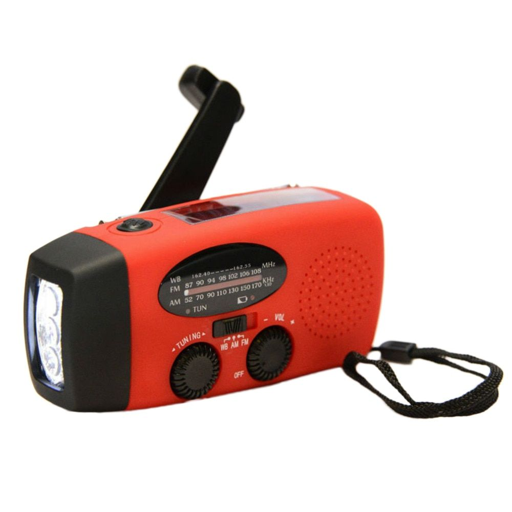 Protable Emergency Hand Crank Generator Solar AM/FM/WB Radio Flashlight Charger Waterproof Emergency Survival Tools