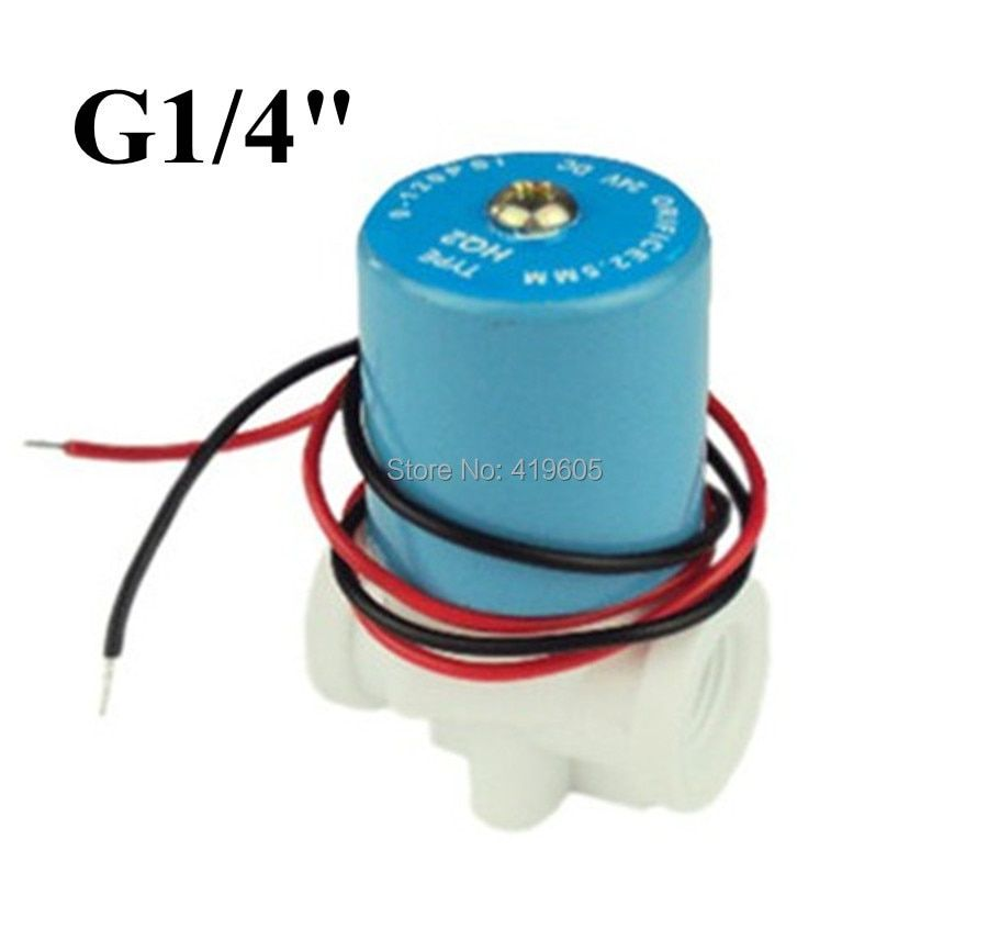 Free shipping G1/4 solenoid valve Plastic valve Normally Closed 2-Way valve 0-120PSI 12VDC