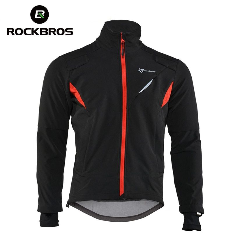 ROCKBROS Cycling Jersey Winter Thermal Fleece Long Cycling Clothing Windproof Riding Bicycle Jerseys Rainproof Reflective Jacket